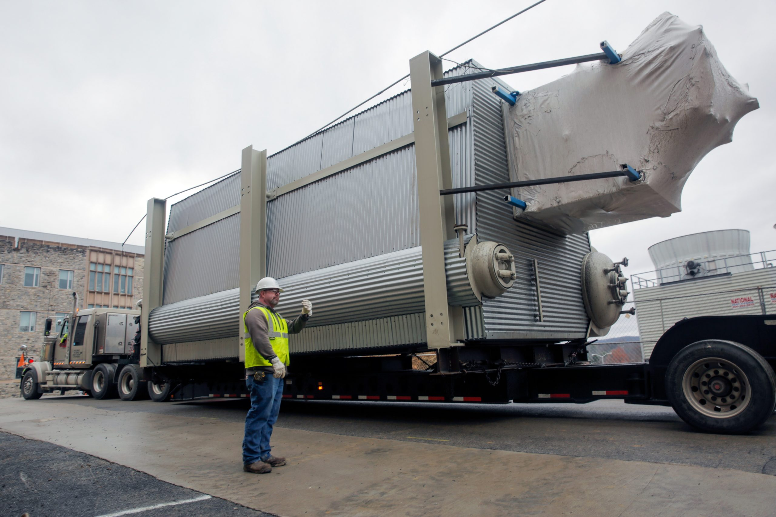 Pipe fitters install Rentech D-Type water tube boiler at Virginia Tech
