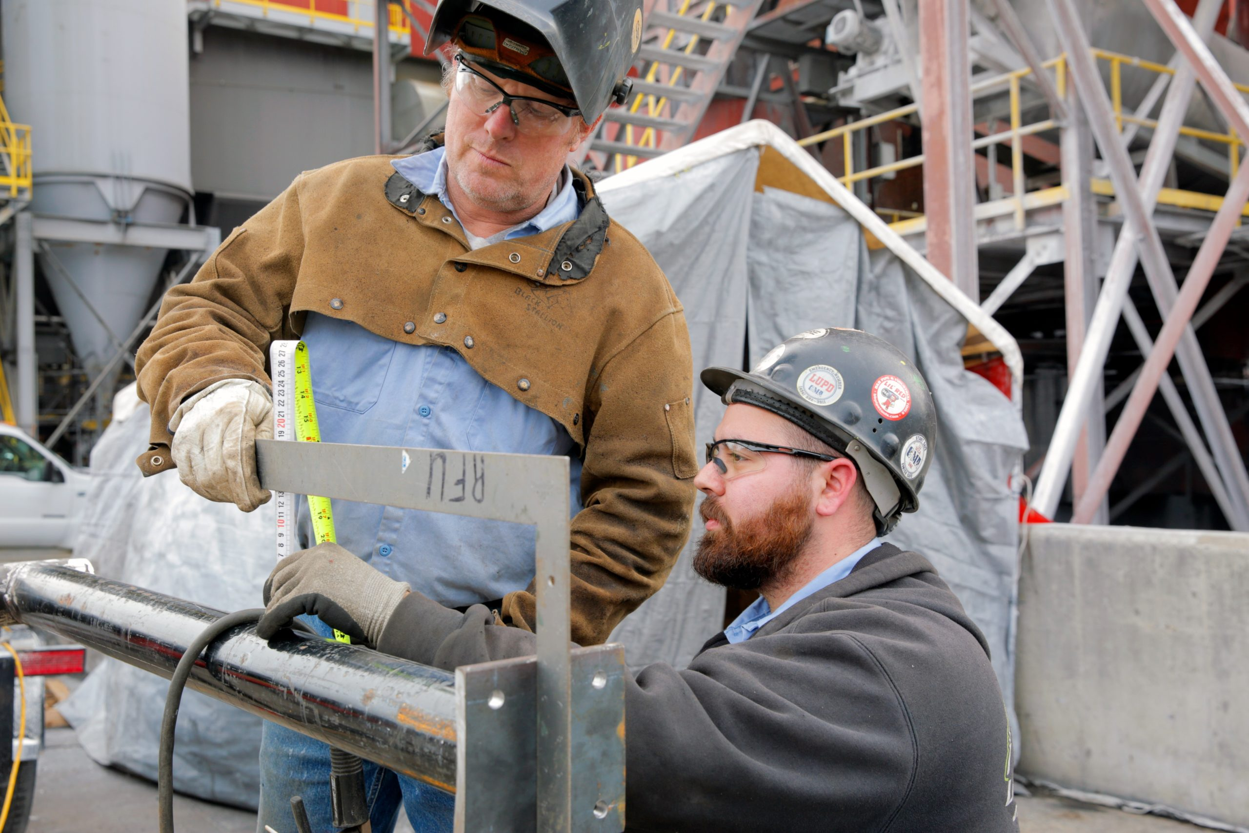 Welders and Pipe fitters install Rentech D-Type water tube boiler at Virginia Tech
